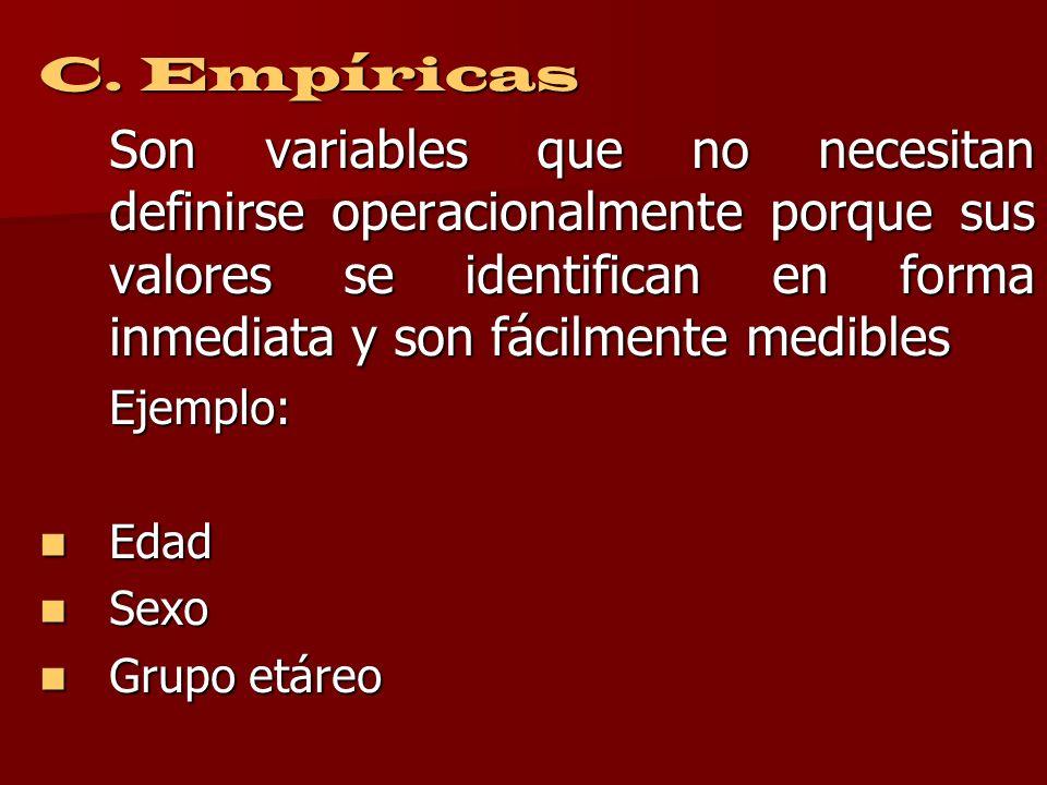B. Intermedias Son variables que permiten especificar a las variables teóricas con el fin de hacerlas observables y medibles. Ejemplo: Ejemplo: Califi