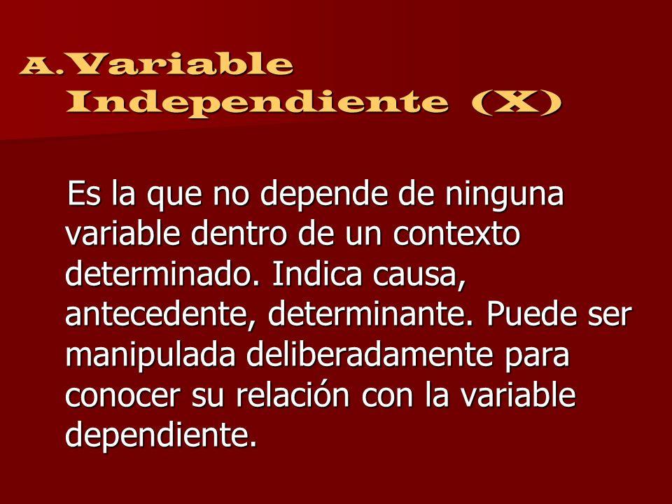 Por su relación causal A. Independiente B. Dependiente C. Interviniente
