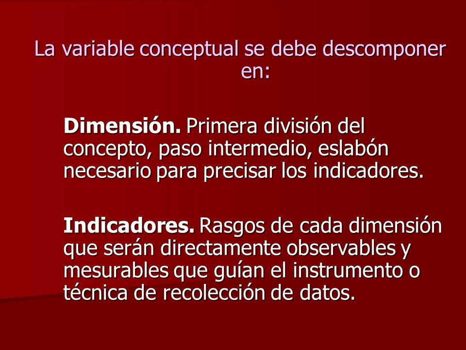 Definición operacional Es la interpretación de la variable en términos empíricos que puedan ser observados y medidos, buscando indicadores que proporc