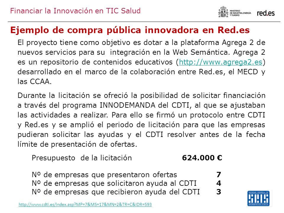 Ejemplo de compra pública innovadora en Red.es Financiar la Innovación en TIC Salud El proyecto tiene como objetivo es dotar a la plataforma Agrega 2 de nuevos servicios para su integración en la Web Semántica.