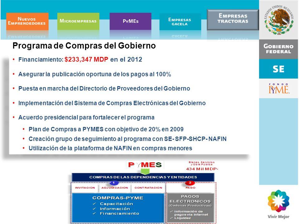 Financiamiento: $233,347 MDP en el 2012 Asegurar la publicación oportuna de los pagos al 100% Puesta en marcha del Directorio de Proveedores del Gobie