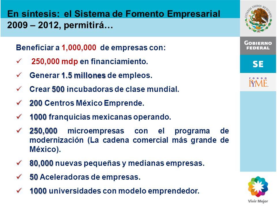 En síntesis: el Sistema de Fomento Empresarial 2009 – 2012, permitirá… Beneficiar a 1,000,000 de empresas con: 250,000 mdp en financiamiento. 1.5 mill