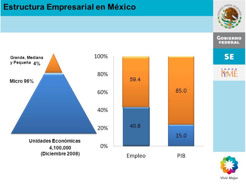 Unidades Económicas Micro 96% 4,100,000 (Diciembre 2008) 4% Grande, Mediana y Pequeña 59.4 40.6 Estructura Empresarial en México