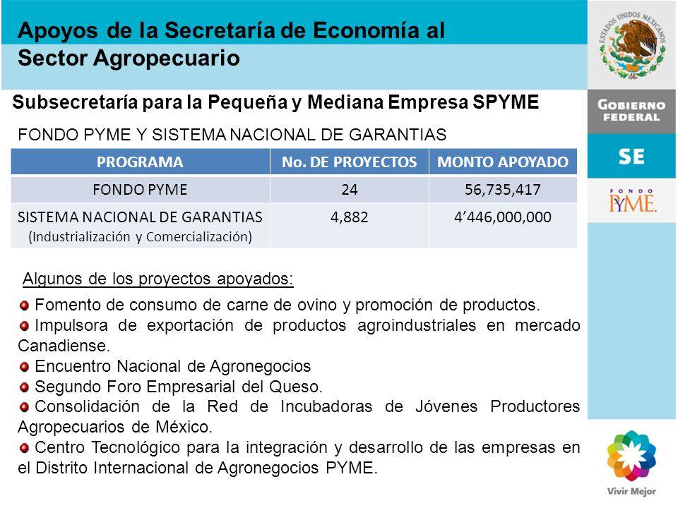 Subsecretaría para la Pequeña y Mediana Empresa SPYME FONDO PYME Y SISTEMA NACIONAL DE GARANTIAS PROGRAMANo. DE PROYECTOSMONTO APOYADO FONDO PYME2456,