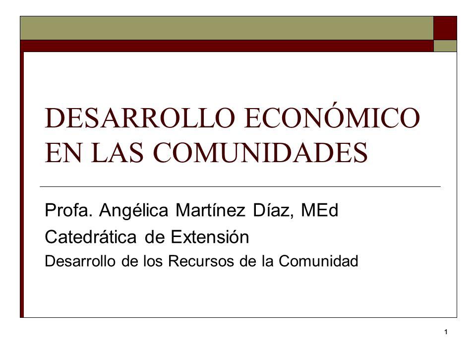 1 DESARROLLO ECONÓMICO EN LAS COMUNIDADES Profa. Angélica Martínez Díaz, MEd Catedrática de Extensión Desarrollo de los Recursos de la Comunidad