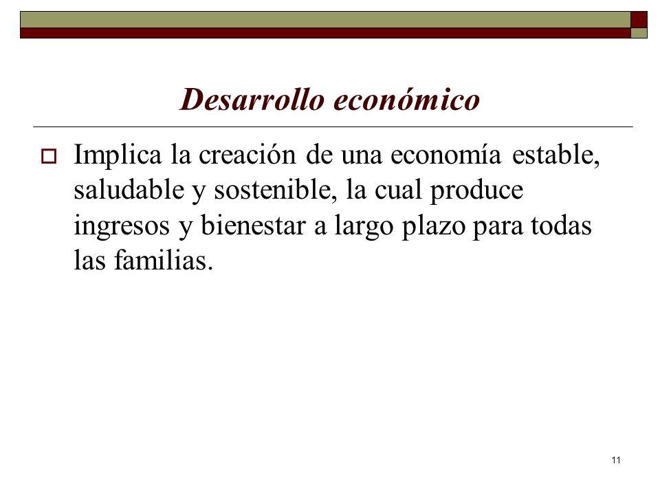11 Desarrollo económico Implica la creación de una economía estable, saludable y sostenible, la cual produce ingresos y bienestar a largo plazo para t