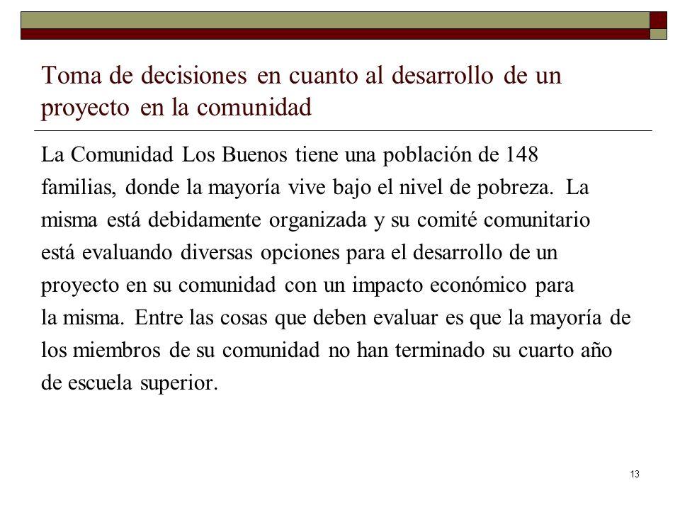 13 Toma de decisiones en cuanto al desarrollo de un proyecto en la comunidad La Comunidad Los Buenos tiene una población de 148 familias, donde la may