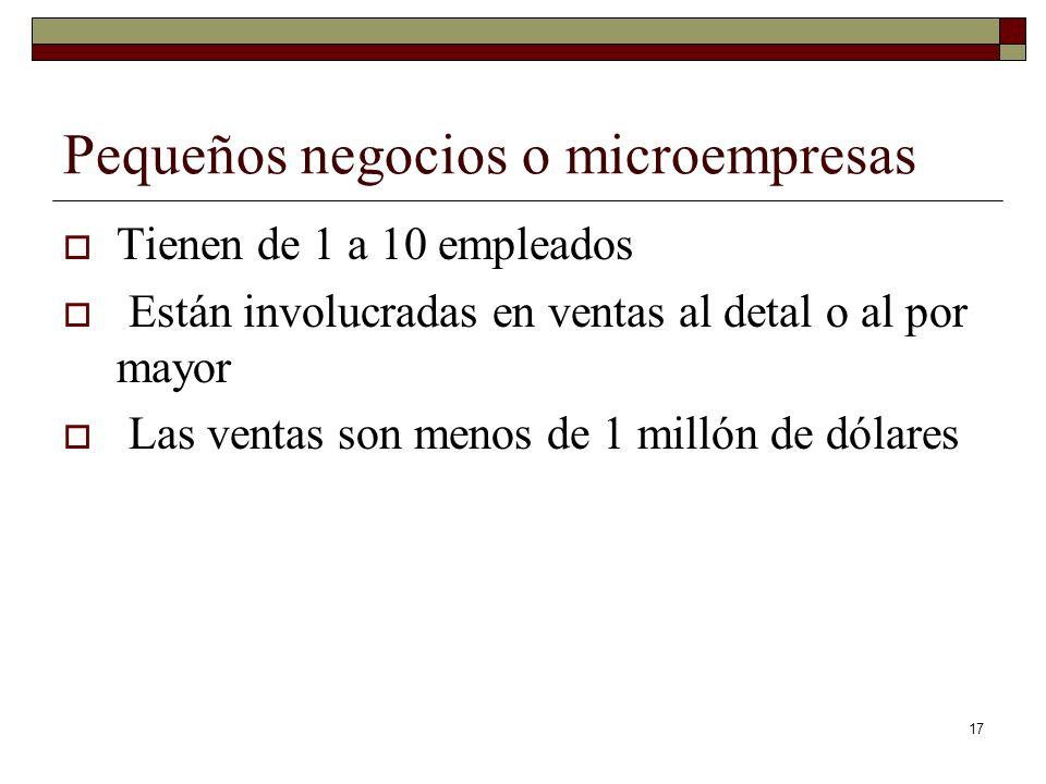 17 Pequeños negocios o microempresas Tienen de 1 a 10 empleados Están involucradas en ventas al detal o al por mayor Las ventas son menos de 1 millón