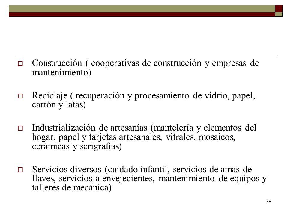 24 Construcción ( cooperativas de construcción y empresas de mantenimiento) Reciclaje ( recuperación y procesamiento de vidrio, papel, cartón y latas)