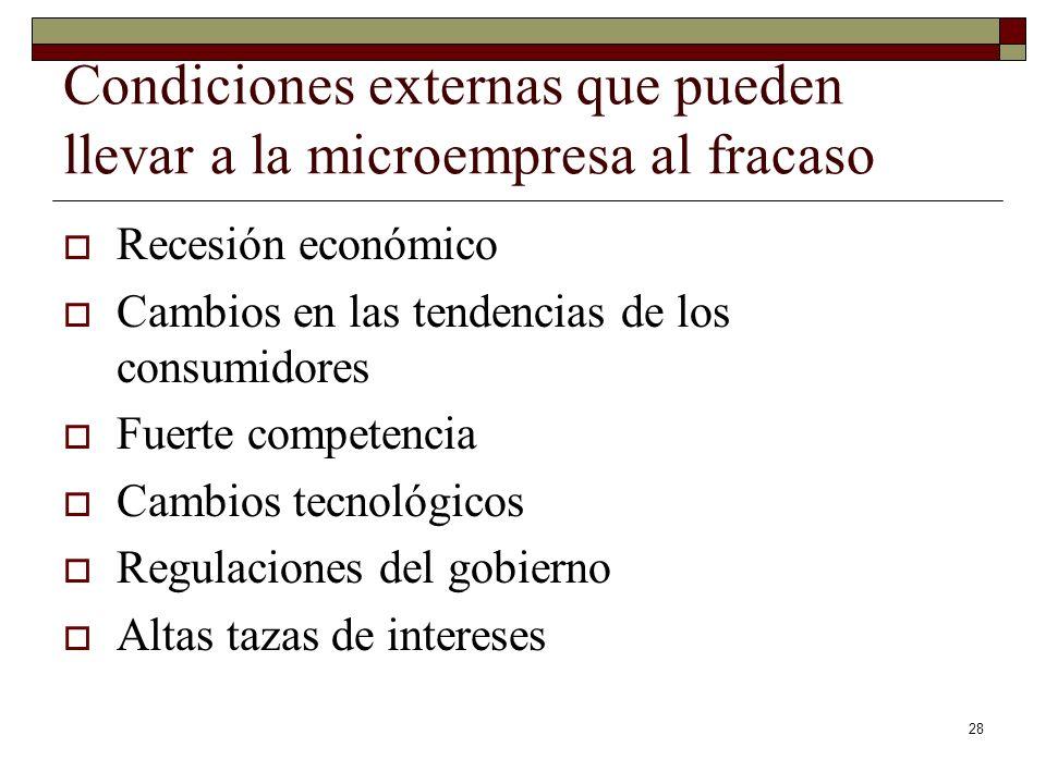 28 Condiciones externas que pueden llevar a la microempresa al fracaso Recesión económico Cambios en las tendencias de los consumidores Fuerte compete