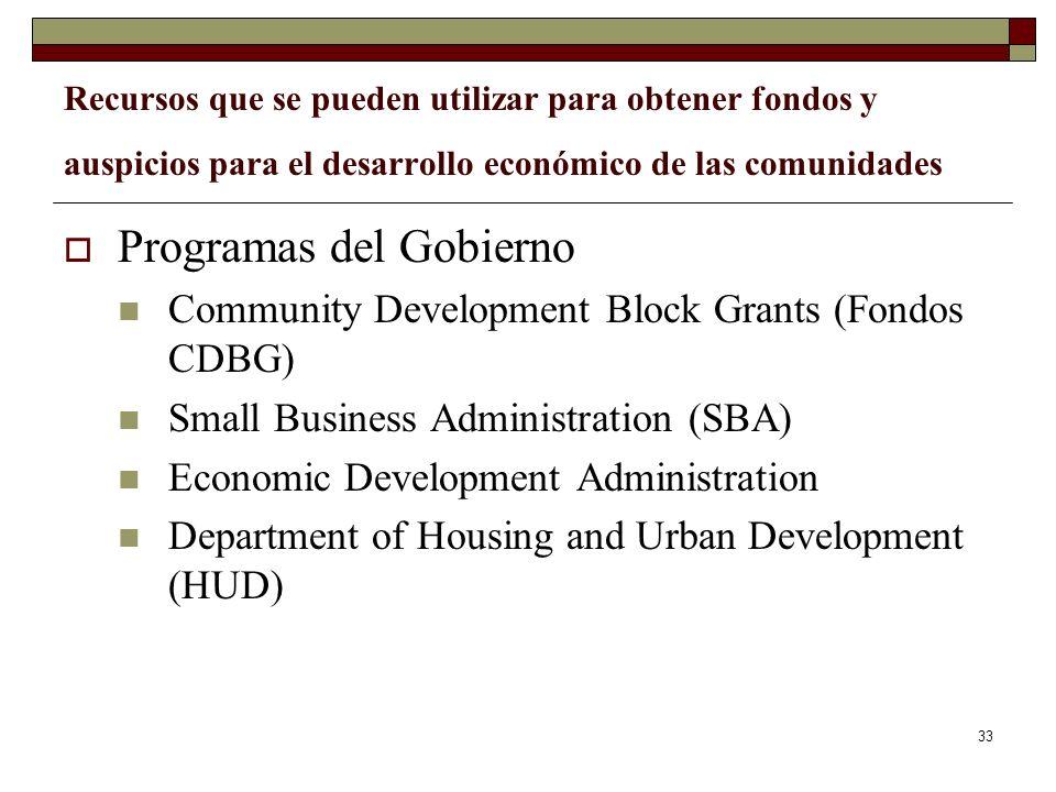 33 Recursos que se pueden utilizar para obtener fondos y auspicios para el desarrollo económico de las comunidades Programas del Gobierno Community De