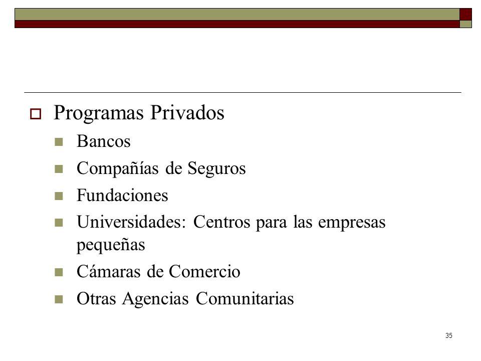 35 Programas Privados Bancos Compañías de Seguros Fundaciones Universidades: Centros para las empresas pequeñas Cámaras de Comercio Otras Agencias Com