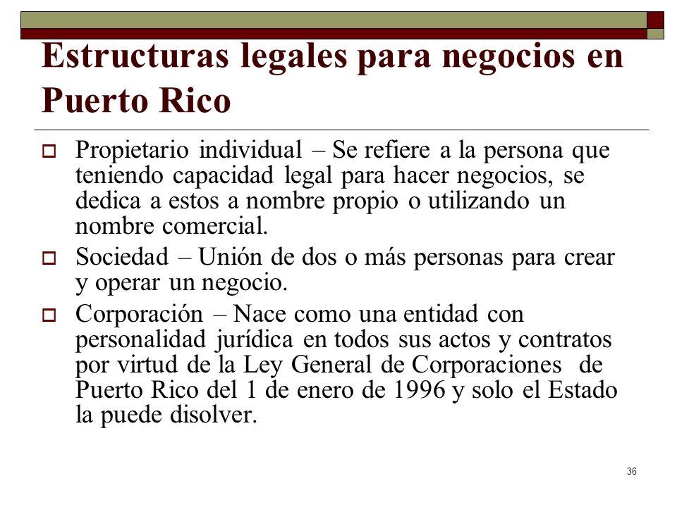 36 Estructuras legales para negocios en Puerto Rico Propietario individual – Se refiere a la persona que teniendo capacidad legal para hacer negocios,