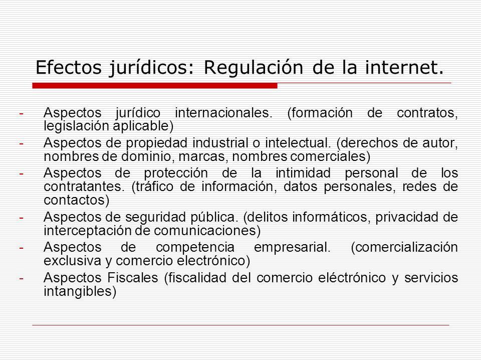 Efectos jurídicos: Regulación de la internet. -Aspectos jurídico internacionales. (formación de contratos, legislación aplicable) -Aspectos de propied