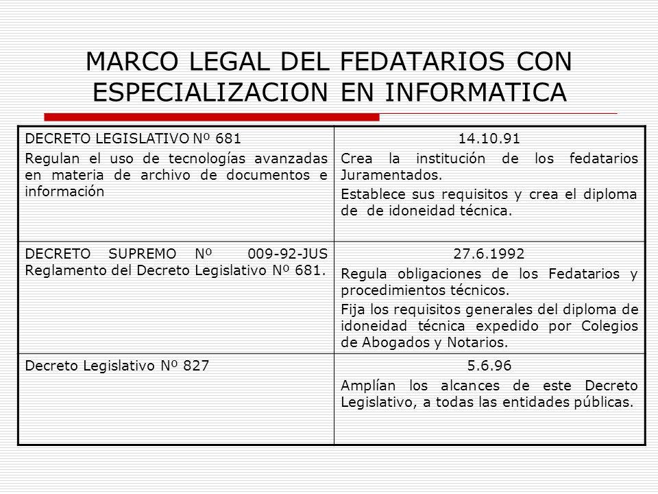 MARCO LEGAL DEL FEDATARIOS CON ESPECIALIZACION EN INFORMATICA DECRETO LEGISLATIVO Nº 681 Regulan el uso de tecnologías avanzadas en materia de archivo