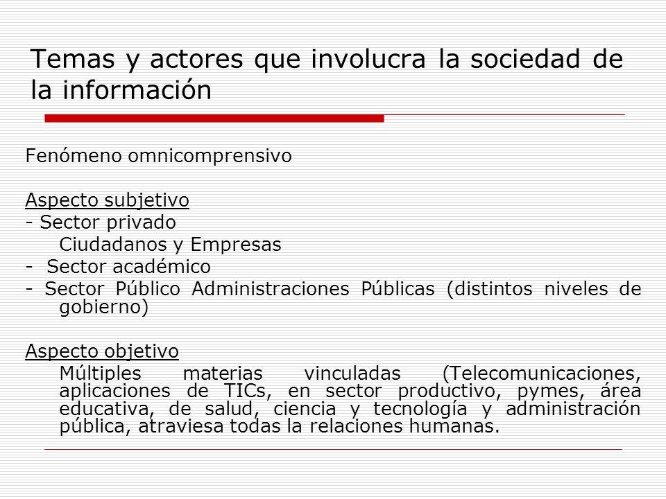 Temas y actores que involucra la sociedad de la información Fenómeno omnicomprensivo Aspecto subjetivo - Sector privado Ciudadanos y Empresas - Sector