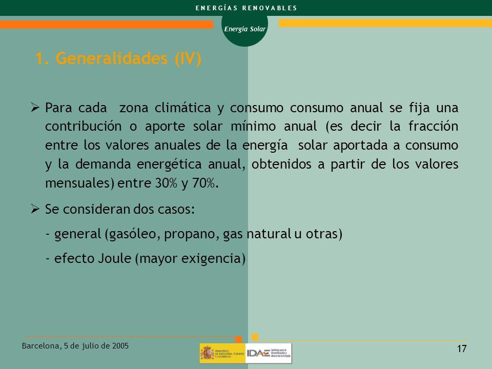 Energía Solar E N E R G Í A S R E N O V A B L E S Barcelona, 5 de julio de 2005 17 Para cada zona climática y consumo consumo anual se fija una contri