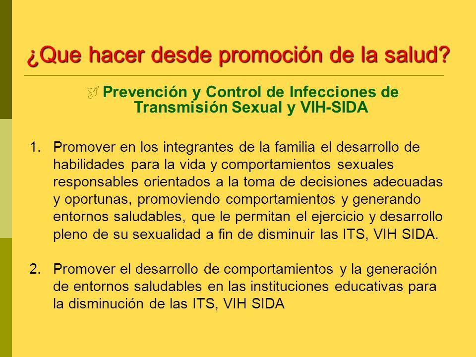 1.Promover en los integrantes de la familia el desarrollo de habilidades para la vida y comportamientos sexuales responsables orientados a la toma de