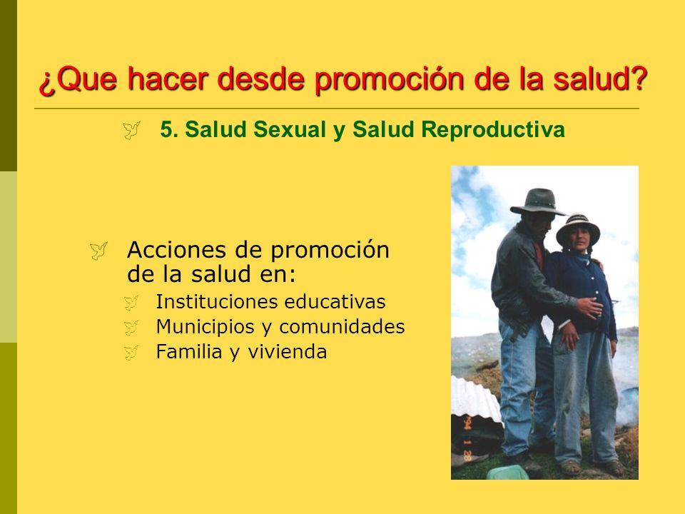 Acciones de promoción de la salud en: Instituciones educativas Municipios y comunidades Familia y vivienda 5. Salud Sexual y Salud Reproductiva ¿Que h