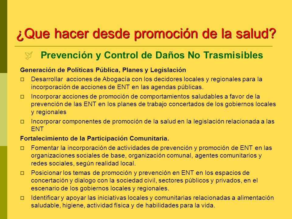 Generación de Políticas Pública, Planes y Legislación Desarrollar acciones de Abogacía con los decidores locales y regionales para la incorporación de