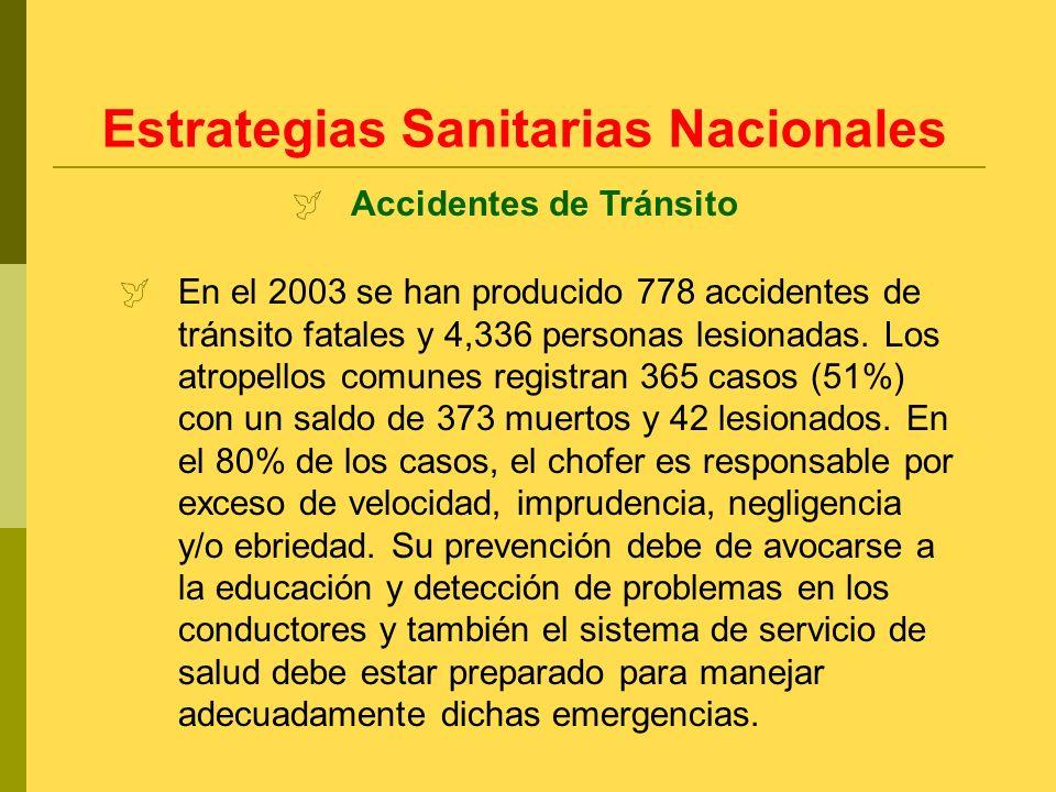 En el 2003 se han producido 778 accidentes de tránsito fatales y 4,336 personas lesionadas. Los atropellos comunes registran 365 casos (51%) con un sa