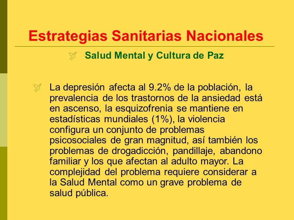 La depresión afecta al 9.2% de la población, la prevalencia de los trastornos de la ansiedad está en ascenso, la esquizofrenia se mantiene en estadíst