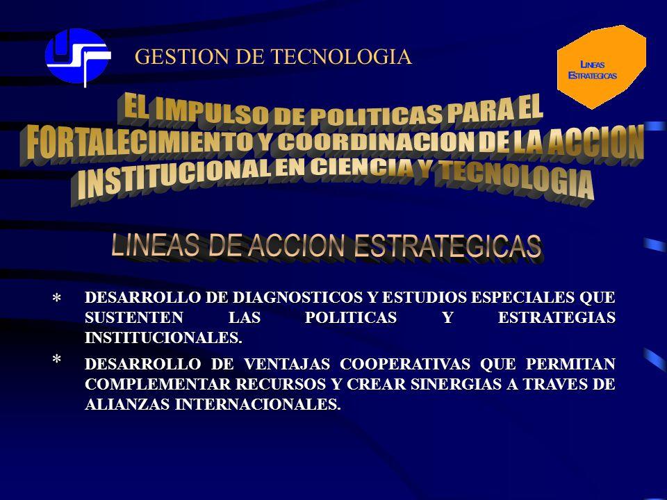 GESTION DE TECNOLOGIA DESARROLLO DE DIAGNOSTICOS Y ESTUDIOS ESPECIALES QUE SUSTENTEN LAS POLITICAS Y ESTRATEGIAS INSTITUCIONALES.