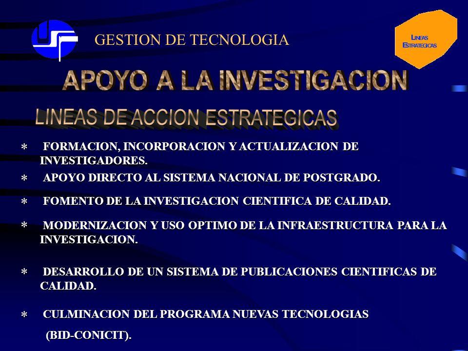GESTION DE TECNOLOGIA* FORMACION, INCORPORACION Y ACTUALIZACION DE INVESTIGADORES. FORMACION, INCORPORACION Y ACTUALIZACION DE INVESTIGADORES. APOYO D