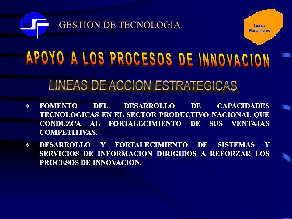 GESTION DE TECNOLOGIA* FOMENTO DEL DESARROLLO DE CAPACIDADES TECNOLOGICAS EN EL SECTOR PRODUCTIVO NACIONAL QUE CONDUZCA AL FORTALECIMIENTO DE SUS VENTAJAS COMPETITIVAS.