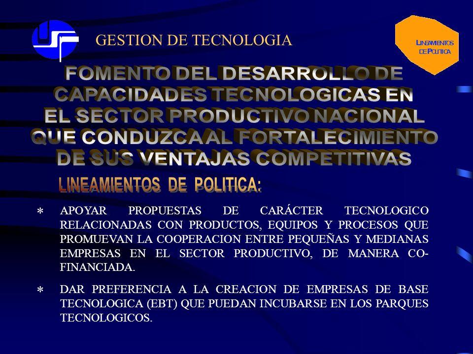 GESTION DE TECNOLOGIA * APOYAR PROPUESTAS DE CARÁCTER TECNOLOGICO RELACIONADAS CON PRODUCTOS, EQUIPOS Y PROCESOS QUE PROMUEVAN LA COOPERACION ENTRE PEQUEÑAS Y MEDIANAS EMPRESAS EN EL SECTOR PRODUCTIVO, DE MANERA CO- FINANCIADA.