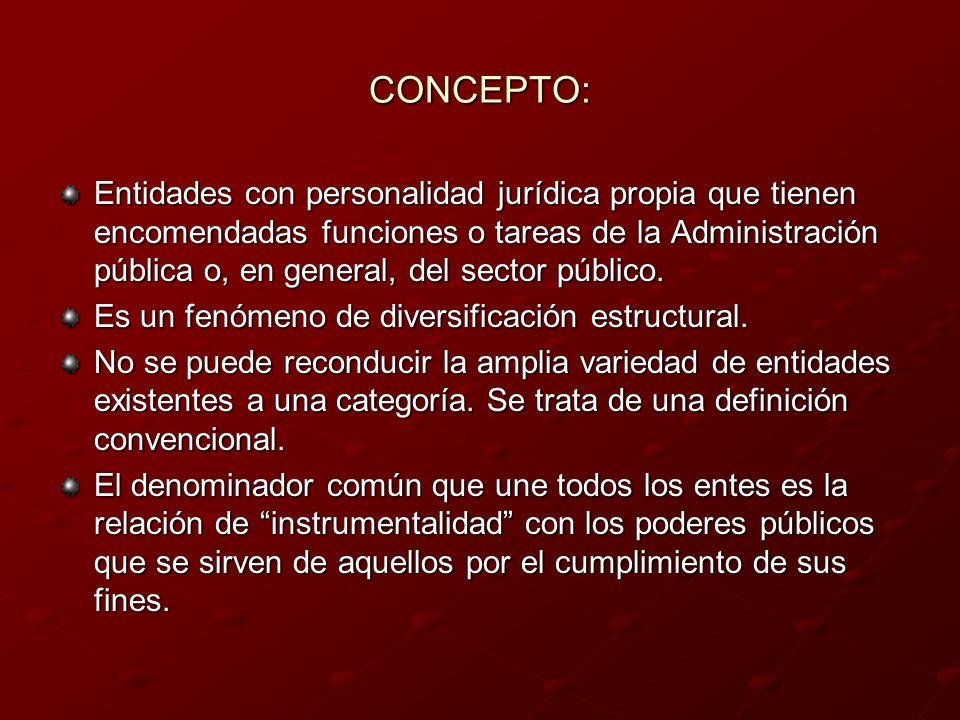 CONCEPTO: Entidades con personalidad jurídica propia que tienen encomendadas funciones o tareas de la Administración pública o, en general, del sector
