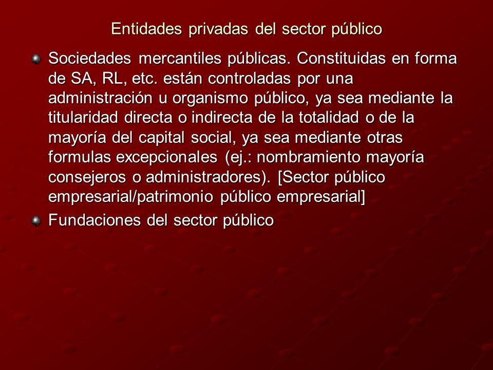 Entidades privadas del sector público Sociedades mercantiles públicas. Constituidas en forma de SA, RL, etc. están controladas por una administración