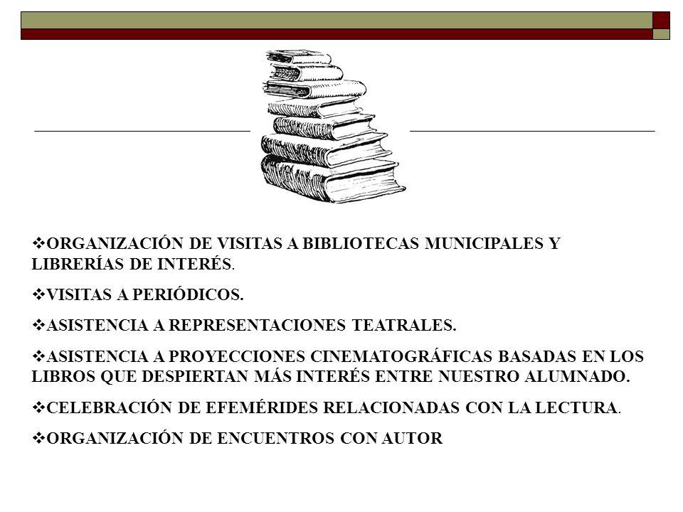 O RGANIZACIÓN DE VISITAS A BIBLIOTECAS MUNICIPALES Y LIBRERÍAS DE INTERÉS. V ISITAS A PERIÓDICOS. A SISTENCIA A REPRESENTACIONES TEATRALES. A SISTENCI