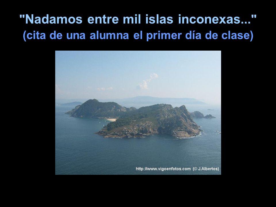 Nadamos entre mil islas inconexas... (cita de una alumna el primer día de clase)