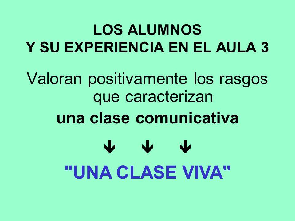 LOS ALUMNOS Y SU EXPERIENCIA EN EL AULA 3 Valoran positivamente los rasgos que caracterizan una clase comunicativa UNA CLASE VIVA