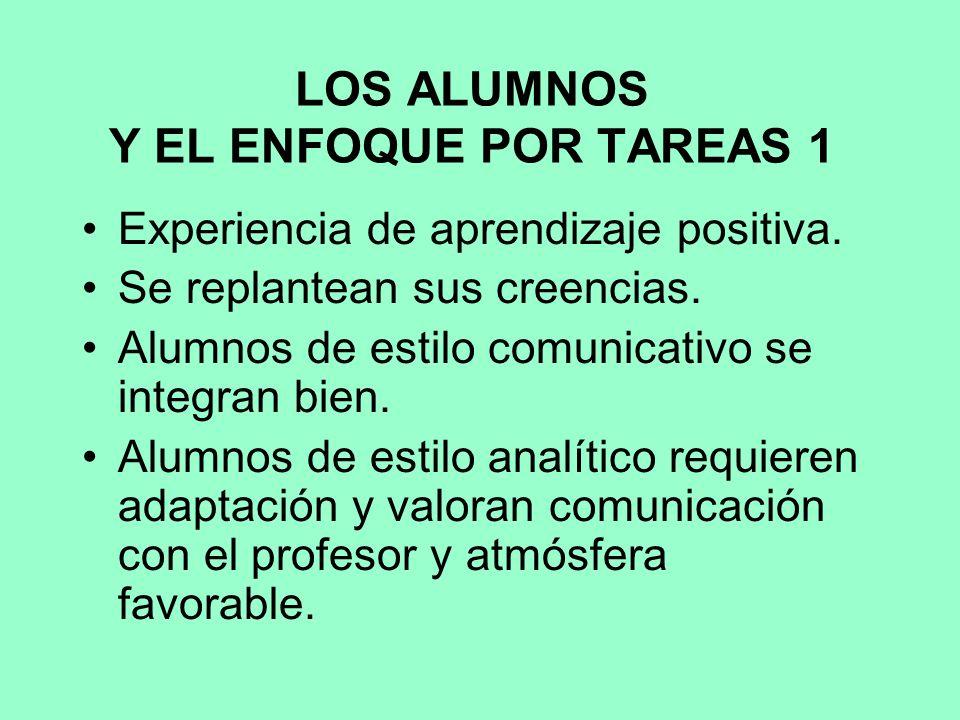 LOS ALUMNOS Y EL ENFOQUE POR TAREAS 1 Experiencia de aprendizaje positiva.