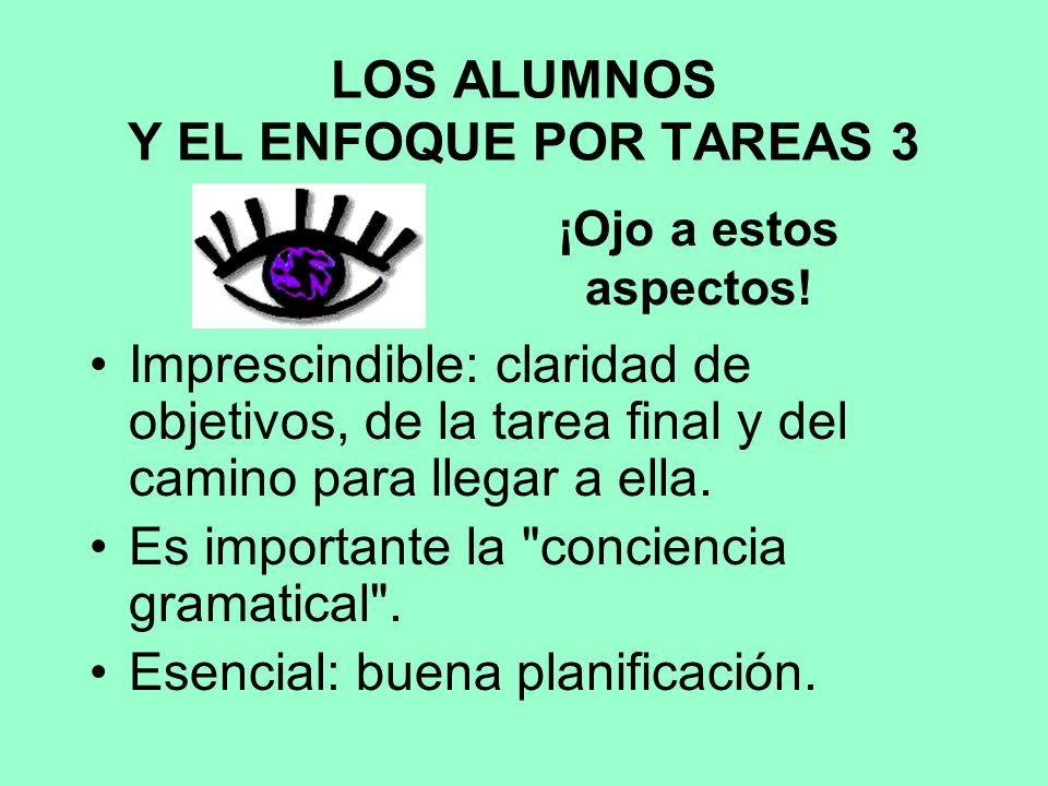 LOS ALUMNOS Y EL ENFOQUE POR TAREAS 3 Imprescindible: claridad de objetivos, de la tarea final y del camino para llegar a ella.