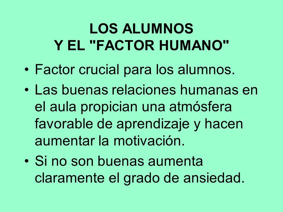 LOS ALUMNOS Y EL FACTOR HUMANO Factor crucial para los alumnos.