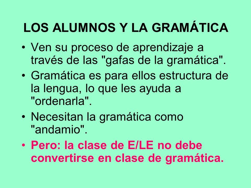 LOS ALUMNOS Y LA GRAMÁTICA Ven su proceso de aprendizaje a través de las gafas de la gramática .