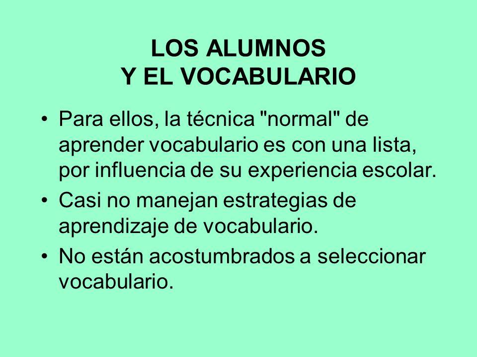 LOS ALUMNOS Y EL VOCABULARIO Para ellos, la técnica normal de aprender vocabulario es con una lista, por influencia de su experiencia escolar.