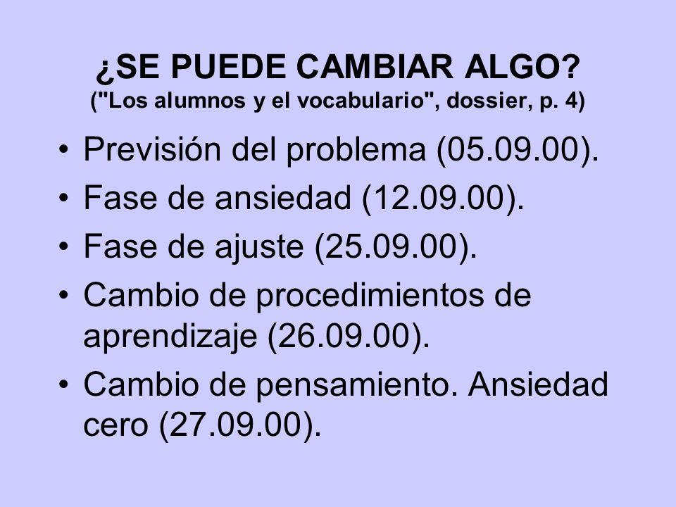 ¿SE PUEDE CAMBIAR ALGO. ( Los alumnos y el vocabulario , dossier, p.