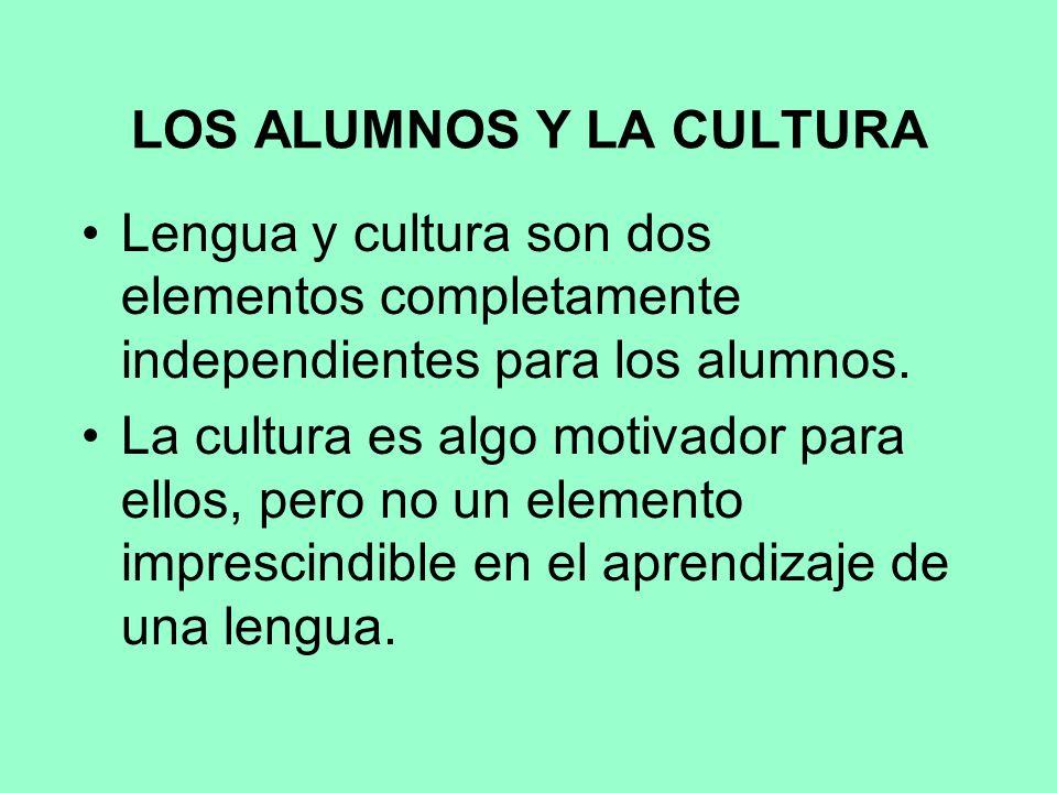 LOS ALUMNOS Y LA CULTURA Lengua y cultura son dos elementos completamente independientes para los alumnos.
