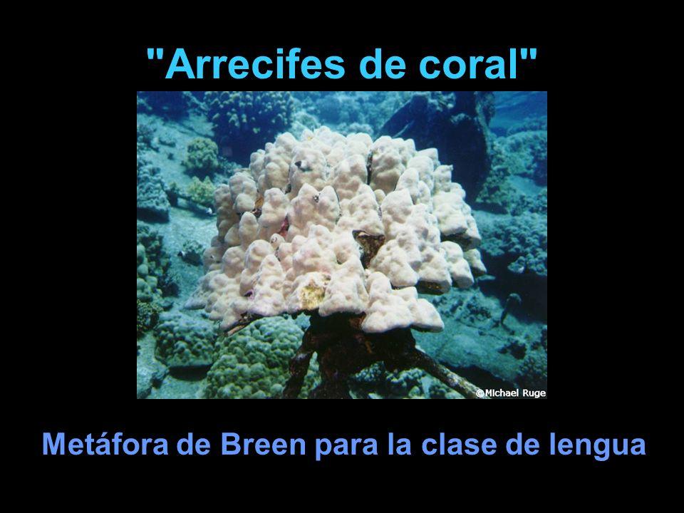 Arrecifes de coral Metáfora de Breen para la clase de lengua