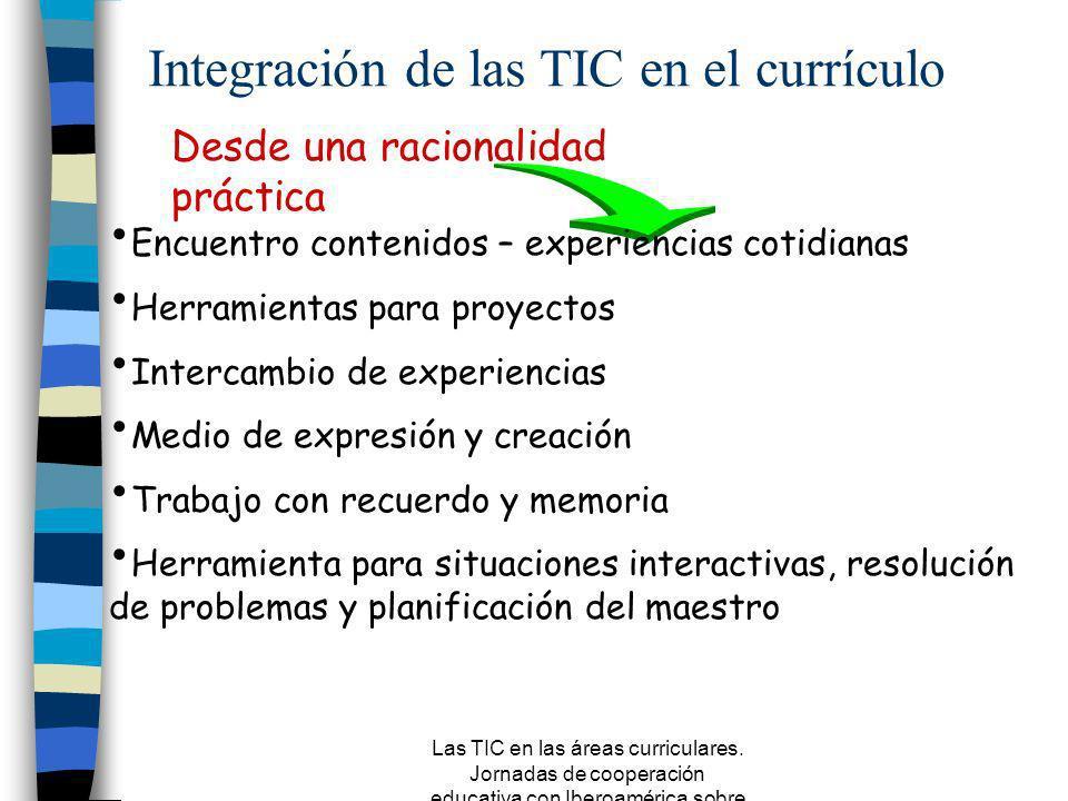 Las TIC en las áreas curriculares. Jornadas de cooperación educativa con Iberoamérica sobre TIC 2005 Desde una racionalidad técnica Transmitir conocim