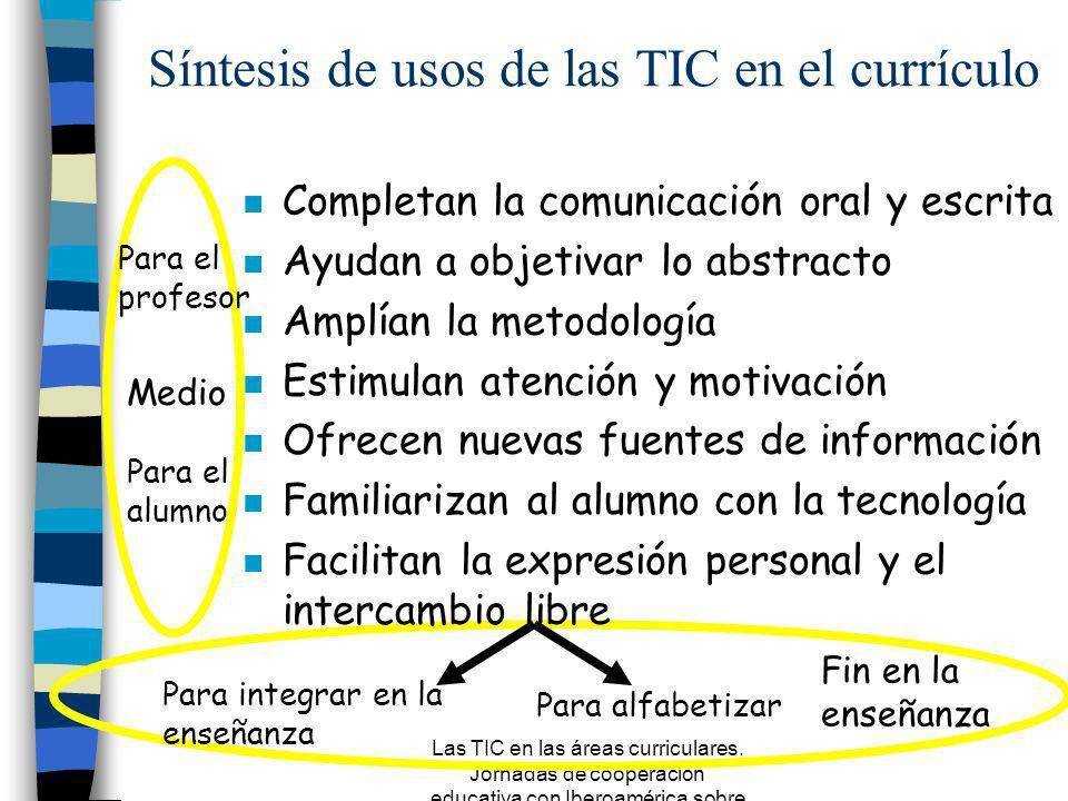 Las TIC en las áreas curriculares. Jornadas de cooperación educativa con Iberoamérica sobre TIC 2005 Material como objeto de análisis Portador de mens
