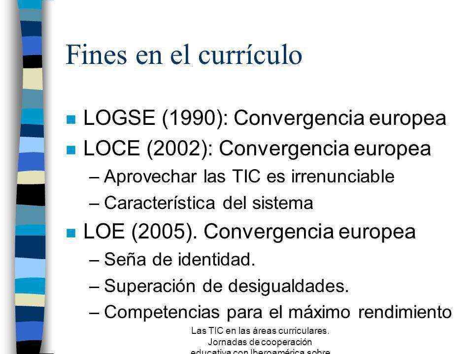 Las TIC en las áreas curriculares. Jornadas de cooperación educativa con Iberoamérica sobre TIC 2005 Volver la mirada al currículo escolar: aplicacion
