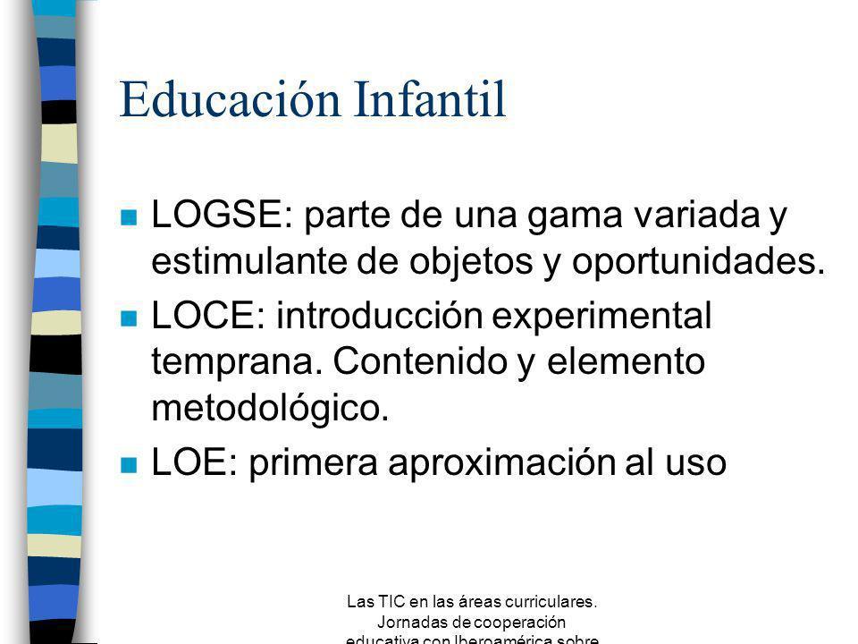 Las TIC en las áreas curriculares. Jornadas de cooperación educativa con Iberoamérica sobre TIC 2005 Fines en el currículo n LOGSE (1990): Convergenci