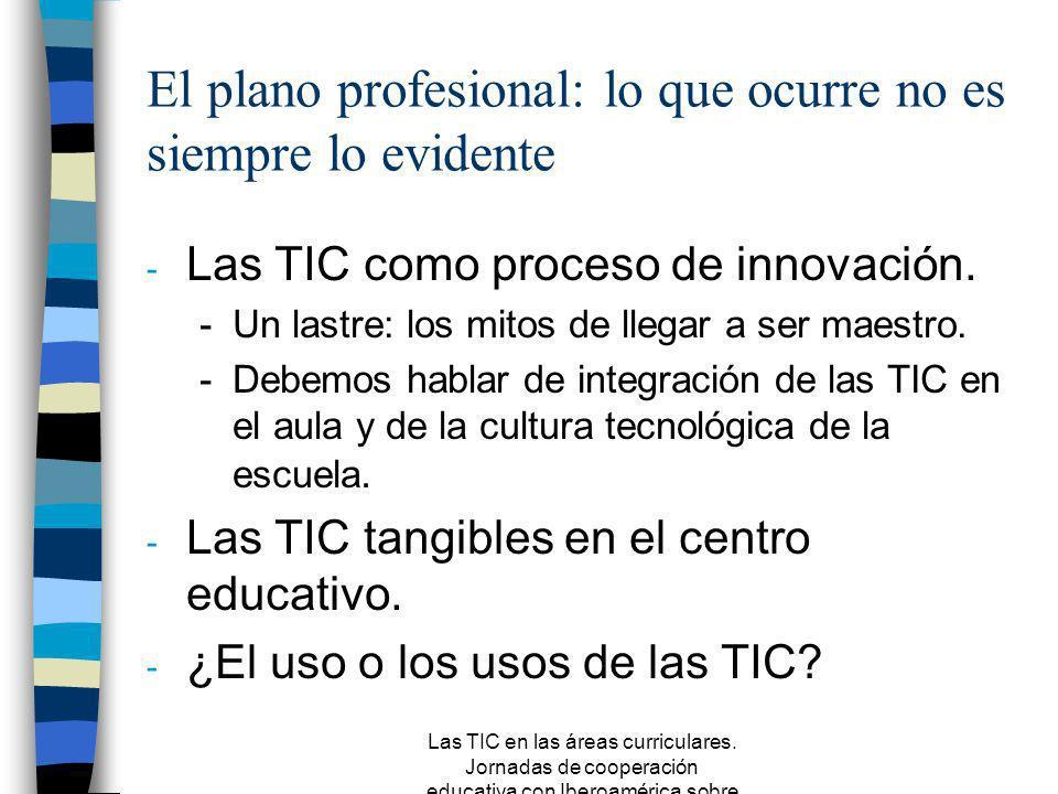 Las TIC en las áreas curriculares. Jornadas de cooperación educativa con Iberoamérica sobre TIC 2005 Entre la realidad y la ficción n El aprendizaje q