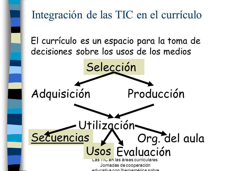Las TIC en las áreas curriculares. Jornadas de cooperación educativa con Iberoamérica sobre TIC 2005 Herramientas, instrumentos y materiales a los que