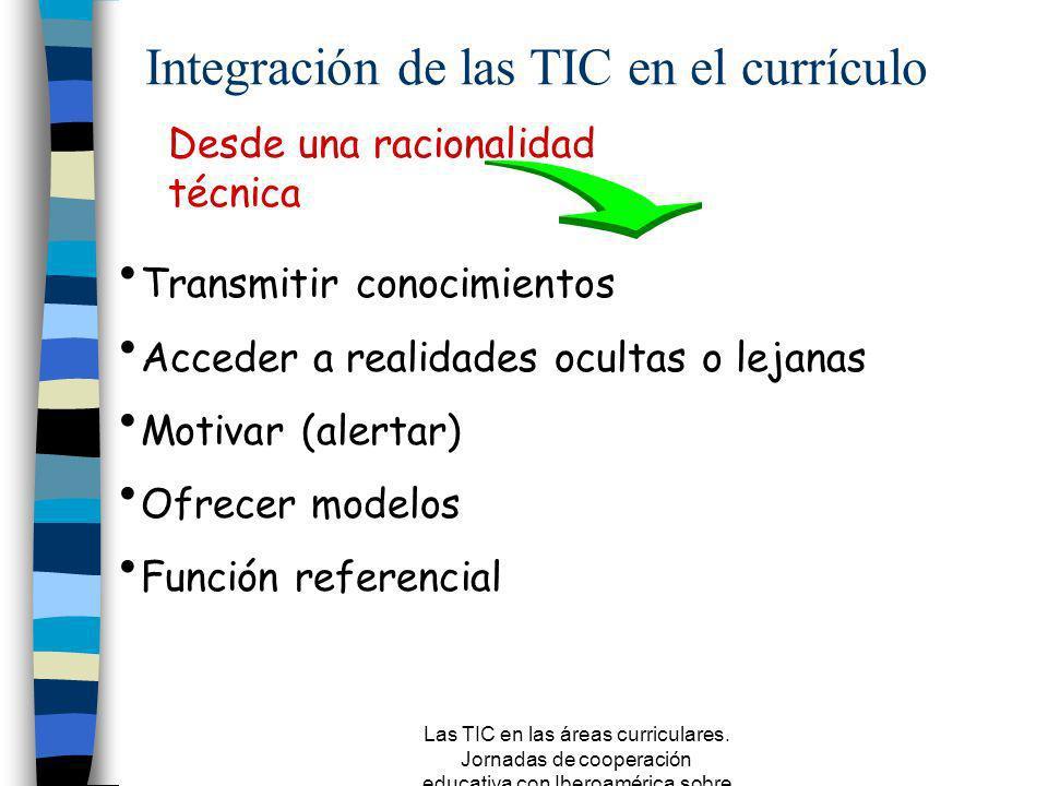 Las TIC en las áreas curriculares. Jornadas de cooperación educativa con Iberoamérica sobre TIC 2005 Selección AdquisiciónProducción Utilización Org.